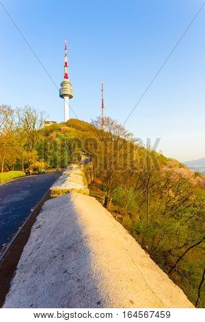Namsan Tower Landscape Hillside City Wall Seoul