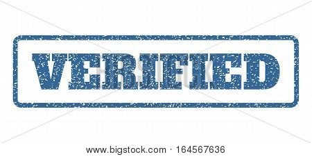 Cobalt Blue rubber seal stamp with Verified text. Vector tag inside rounded rectangular banner. Grunge design and scratched texture for watermark labels. Horisontal sign on a white background.
