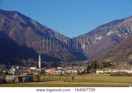 View Of The Small Town Of Valmareno, Near Follina, Italy.