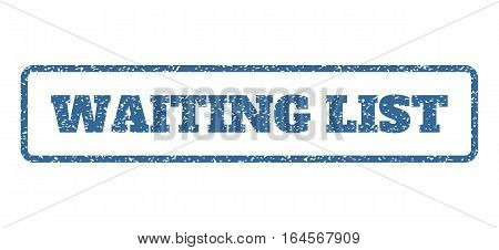 Cobalt Blue rubber seal stamp with Waiting List text. Vector caption inside rounded rectangular shape. Grunge design and dust texture for watermark labels. Horisontal sign on a white background.