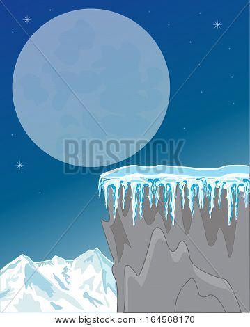 The Night landscape of the snow mountains and.Vector illustration