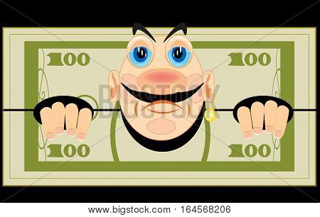 Banknote one hundred dollars with person on black background