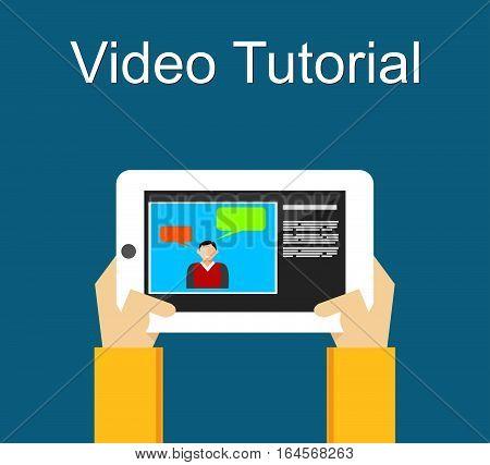 Video tutorial or web binar concept illustration.