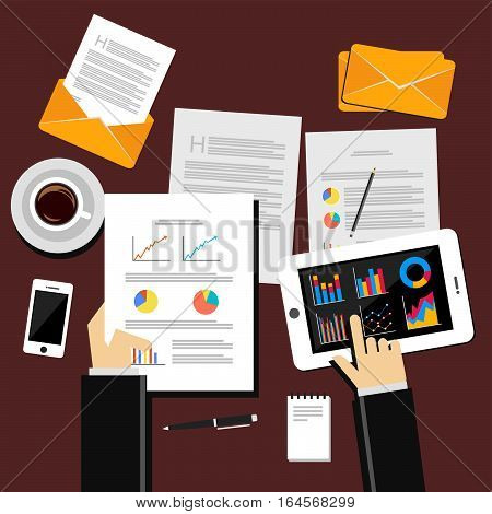 Working business person on desk. Business analyst concept