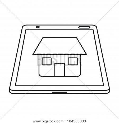 real estate tablet app design line vector illustration eps 10