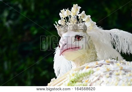 White peacock made by fresh flowers with copysapce