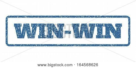 Cobalt Blue rubber seal stamp with Win-Win text. Vector tag inside rounded rectangular shape. Grunge design and scratched texture for watermark labels. Horisontal sign on a white background.