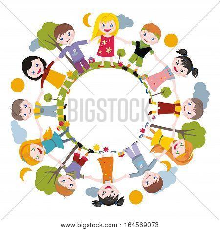 world of childhood. illustration - children joined hands.