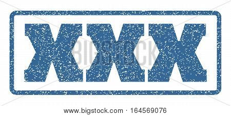 Cobalt Blue rubber seal stamp with XXX text. Vector caption inside rounded rectangular frame. Grunge design and scratched texture for watermark labels. Horisontal sign on a white background.