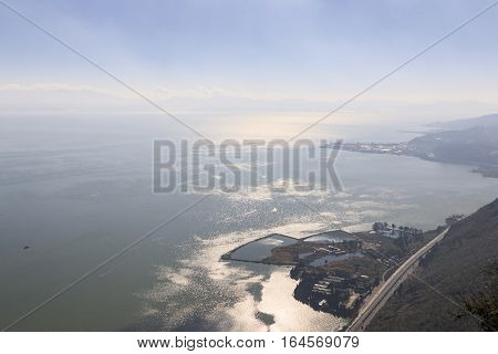 Aerial View Dianchi Lake In Kunming, The Capital Of Yunnan Province In Southern China, From Xishan W