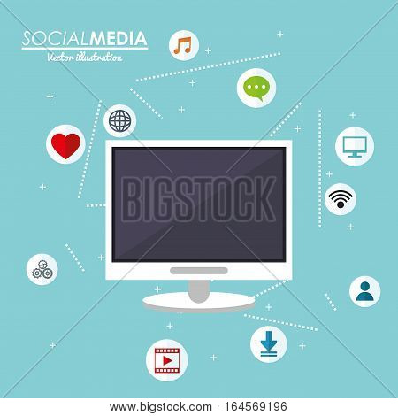 computer technology social media share connected vector illustration eps 10