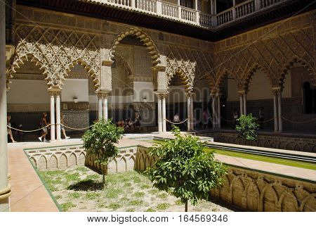 Views Of The Alcazar Palace In Sevilla.