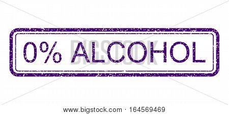 Indigo Blue rubber seal stamp with 0 Percent Alcohol text. Vector message inside rounded rectangular shape. Grunge design and dust texture for watermark labels.