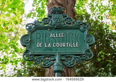 Antique Street Sign In Paris