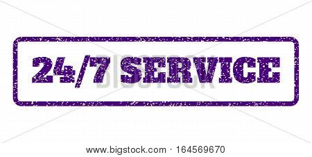 Indigo Blue rubber seal stamp with 24-7 Service text. Vector message inside rounded rectangular frame. Grunge design and dirty texture for watermark labels. Horisontal sticker on a white background.