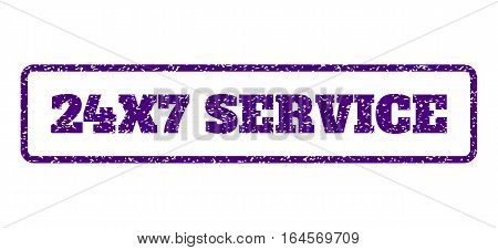 Indigo Blue rubber seal stamp with 24X7 Service text. Vector caption inside rounded rectangular banner. Grunge design and dust texture for watermark labels. Horisontal sign on a white background.