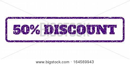 Indigo Blue rubber seal stamp with 50 Percent Discount text. Vector caption inside rounded rectangular banner. Grunge design and dust texture for watermark labels.