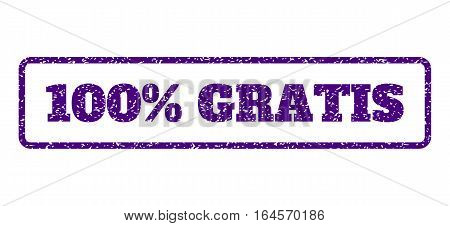 Indigo Blue rubber seal stamp with 100 Percent Gratis text. Vector tag inside rounded rectangular frame. Grunge design and dirty texture for watermark labels. Horisontal sticker on a white background.