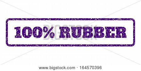 Indigo Blue rubber seal stamp with 100 Percent Rubber text. Vector caption inside rounded rectangular shape. Grunge design and unclean texture for watermark labels.