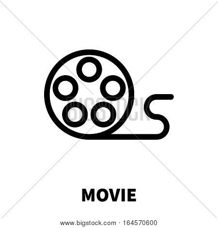 Movie icon or logo in modern line style. High quality black outline pictogram for web site design and mobile apps. Vector illustration on a white background.