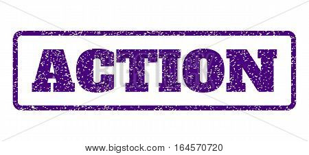 Indigo Blue rubber seal stamp with Action text. Vector tag inside rounded rectangular banner. Grunge design and unclean texture for watermark labels. Horisontal sticker on a white background.