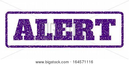 Indigo Blue rubber seal stamp with Alert text. Vector message inside rounded rectangular frame. Grunge design and dirty texture for watermark labels. Horisontal sign on a white background.