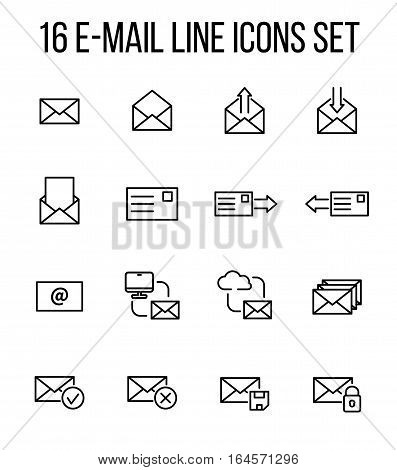 Set of e-mail icons in modern thin line style. High quality black outline communication symbols for web site design and mobile apps. Simple linear mail pictograms on a white background.