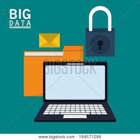laptop folder file email message padlock vector illustration eps 10