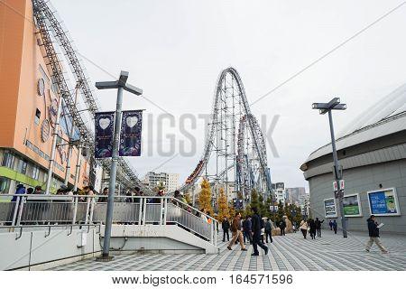 roller coaster at Tokyo Dome taken in Japan on 3 December 2016