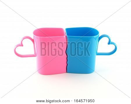 cup of love, closeup two colorful (pastel pink and blue) plastic cups shaped faces of men and women were kissing with heart shape handle isolated on white background