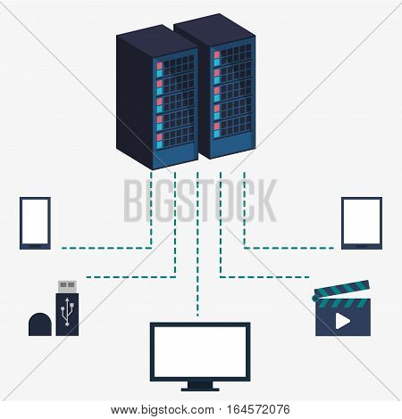 data center server equipment storage information vector illustration eps 10