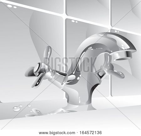 illustration - metal water faucet in the bathroom