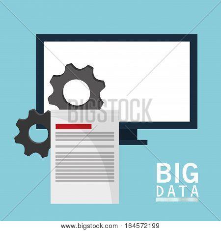 big data comuter gears document vector illustration eps 10