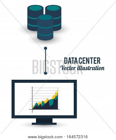 data center computer business graph connected vector illustration