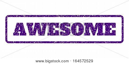 Indigo Blue rubber seal stamp with Awesome text. Vector message inside rounded rectangular banner. Grunge design and dirty texture for watermark labels. Horisontal emblem on a white background.