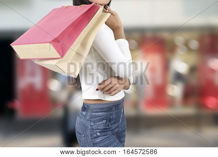 Woman Shopping On Street