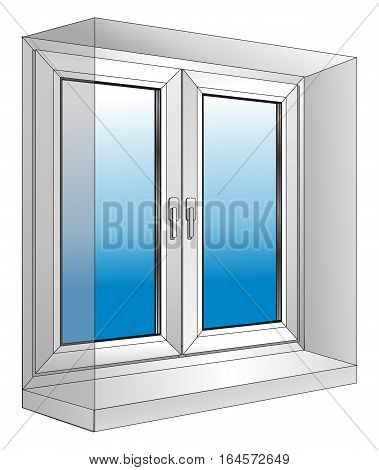 illustration - white plastic window with a sloping
