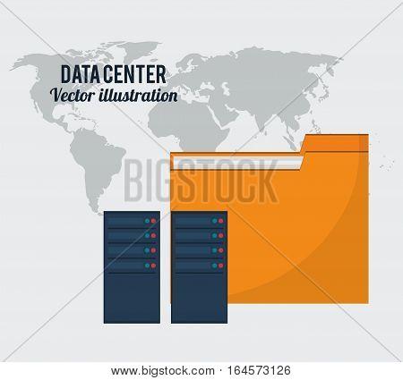 data center folder file storage global vector illustration eps 10