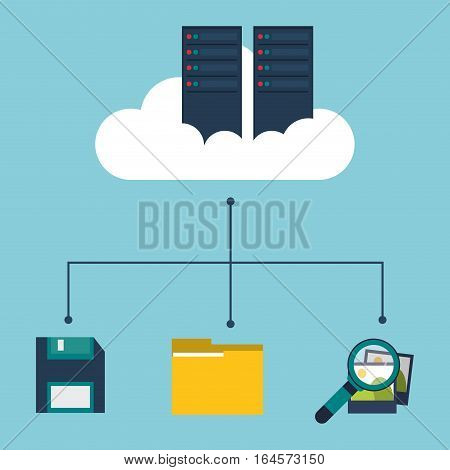 data center cloud floppy folder search picture vector illustration eps 10