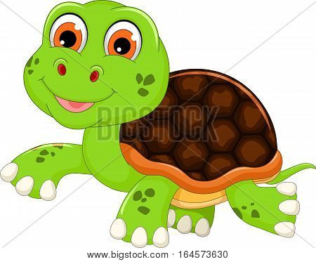 cute baby turtle cartoon walking for you design