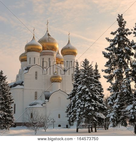 Urban winter landscape at sunset, near the Assumption Cathedral in Yaroslavl, Russia