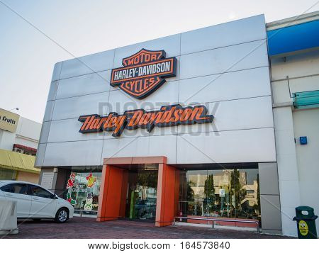 Auto City, Penang, Malaysia - December 17, 2016: Harley-Davidson shop and Office. Harley-Davidson, or Harley, is an American motorcycle manufacturer, founded in Milwaukee, Wisconsin in 1903