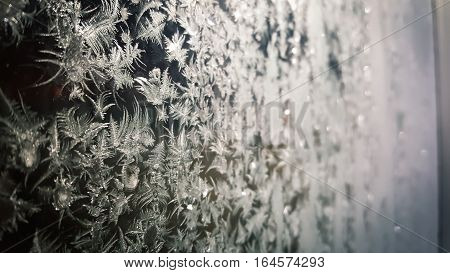 Angled shot of a frosted a window