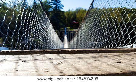 Low angle shot of a Hanging bridge