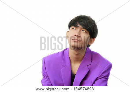 Portrait young handsome businessman with show emotions on white background