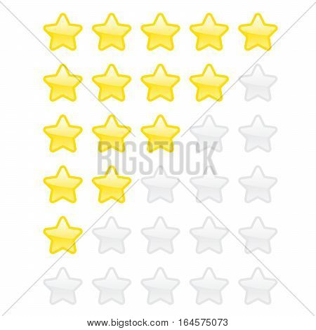 Abstract flat style yellow and golden vector star icon illustration. Glossy golden rating star