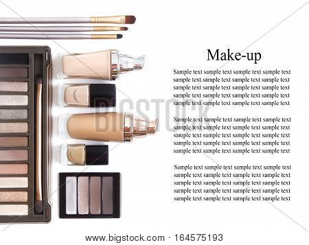 Cosmetics in natural colors and brushes isolated on white background. Makeup tools and accessories. Brow eyeshadows naturel skin foundation for clean ton on face nail polish make-up brushes. poster