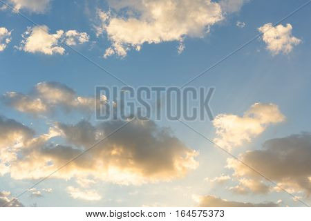 Empty sky and clouds at dusk for background.