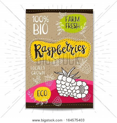 Colorful label in sketch style, food, spices, cardboard textured background. Raspberries Fruits. Bio, eco, farm, fresh. locally grown. Hand drawn vector illustration