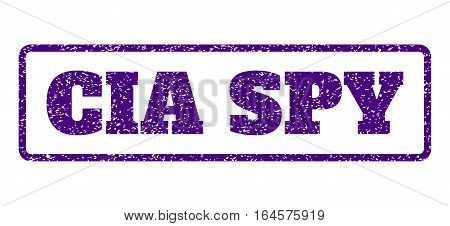 Indigo Blue rubber seal stamp with CIA Spy text. Vector message inside rounded rectangular frame. Grunge design and dirty texture for watermark labels. Horisontal emblem on a white background.